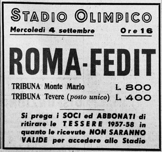 Manifesto relativo alla partita amichevole Roma – Fedit (fonte sito www.asromaultras.org)