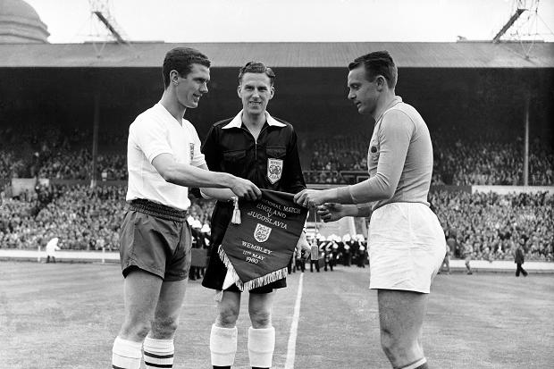 Pennants exchange before the friendly match England vs West Germany played in 1953