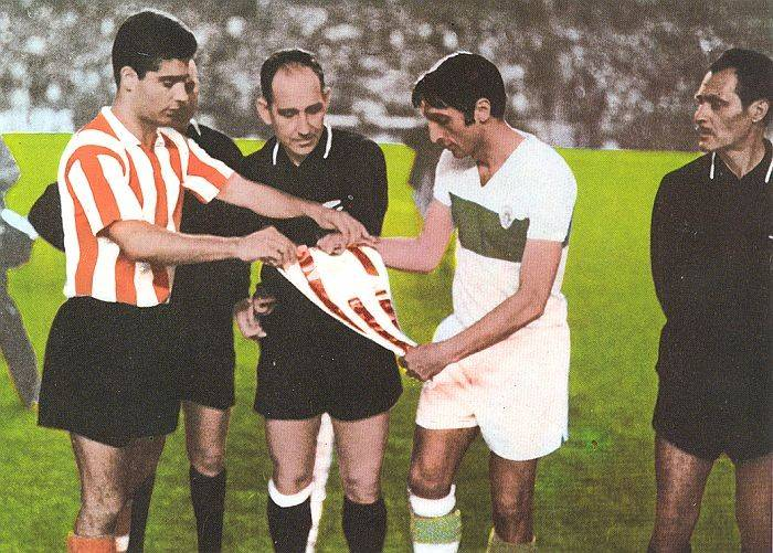 Pennants exchange before the match Athletic Bilbao vs Elche played in early 70s