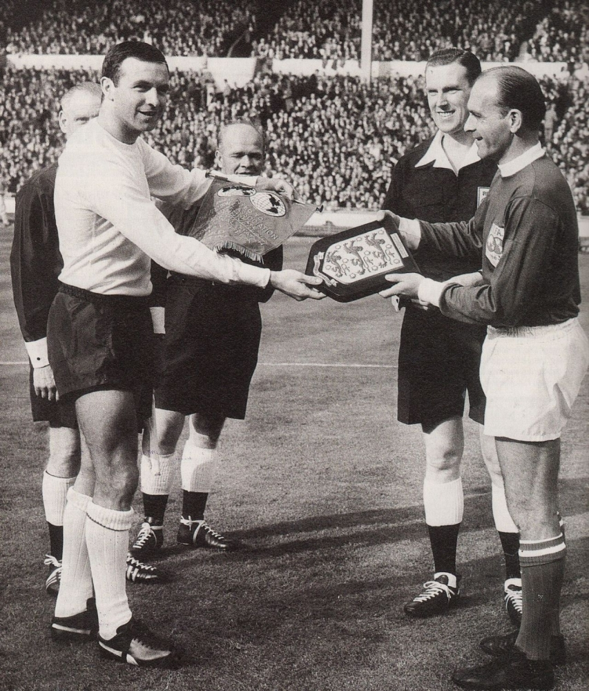 Pennants exchange before the friendly match England vs World XI played in 1963