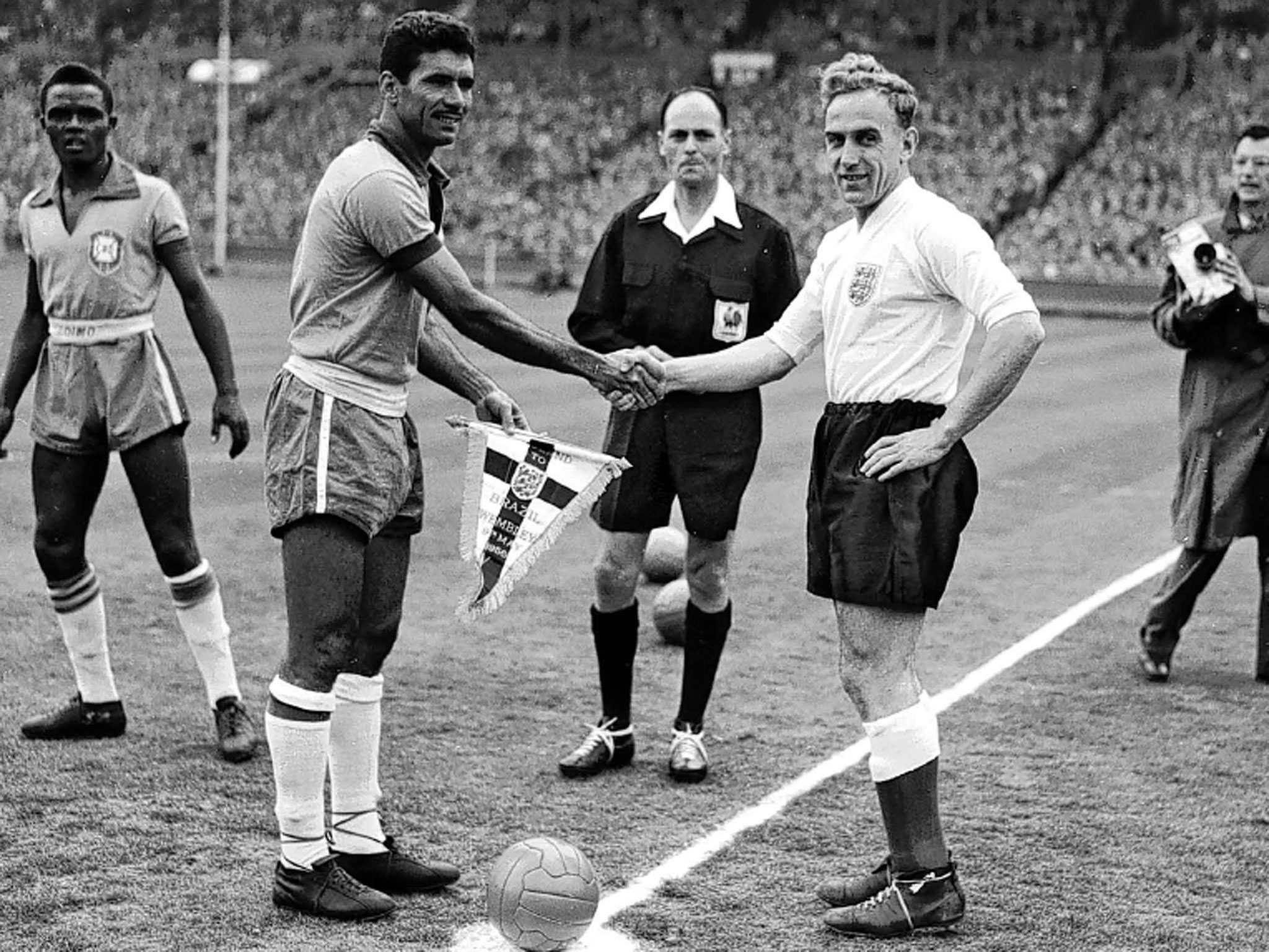 Pennants exchange before the friendly match England vs Brazil played in 1956