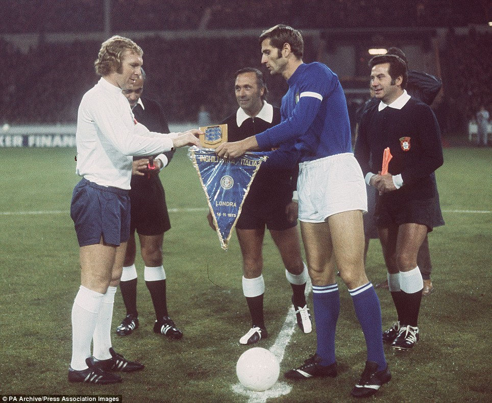 Pennants exchange before the match England vs Italy played in 1973