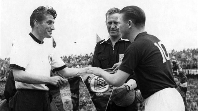 Pennants exchange before the RIMET World Cup 1954 final Hungary vs West Germany