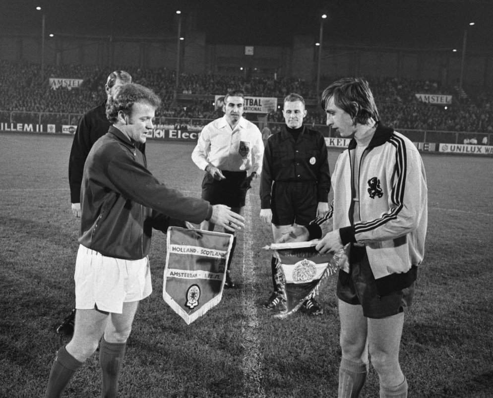 Pennants exchange before the match Holland vs Scotland played in 1971