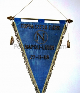 Emboridered pennant of the Inter cities fairs cup match Napoli vs Leeds played in 1968