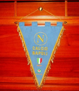 Embroidered pennant with honours issued after victories in the Italian championship an in the Italian F.A. cup (season 1986-1987)