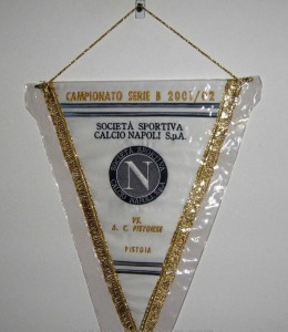 Embroidered pennant of the match Napoli vs Pistoiese played in the season 2001 - 2002