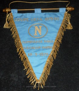 Embroidered pennant of the UEFA cup match Napoli vs Olympiakos played on the 19th September 1979. This pennant was gifted to the referee of the match Mr ALDINGER