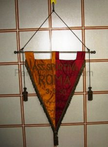 Embroidered pennant of the friendly match Roma vs Marzotto Valdagno played in 1950