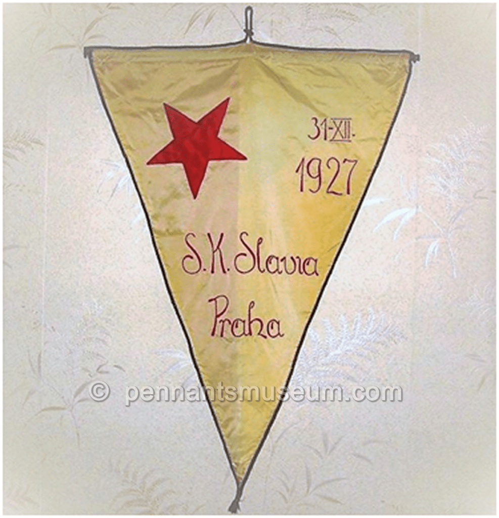 Embroidered pennant issued for a match played in 1927