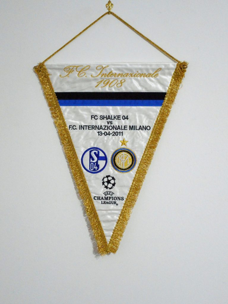 Gagliardetto Inter 2011: Embroidered pennant of the champions league match Inter vs schalke played the 13th april 2011