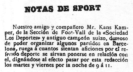 L'annuncio di Joan Gamper (chiamato Kans Kamper) da cui nacque il Barcellona
