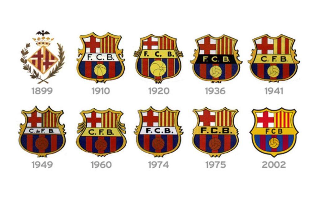 Evoluzione degli stemmi del Barcellona