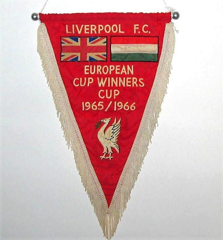 Gagliardetto dell'incontro Liverpool – Honved Budapest quarti di finale di Coppa delle Coppe 1965-1966