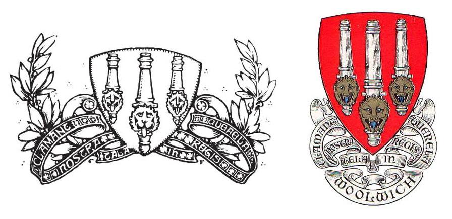 A sinistra il primo stemma dell'Arsenal e a destra quello del quartiere di Woolwich