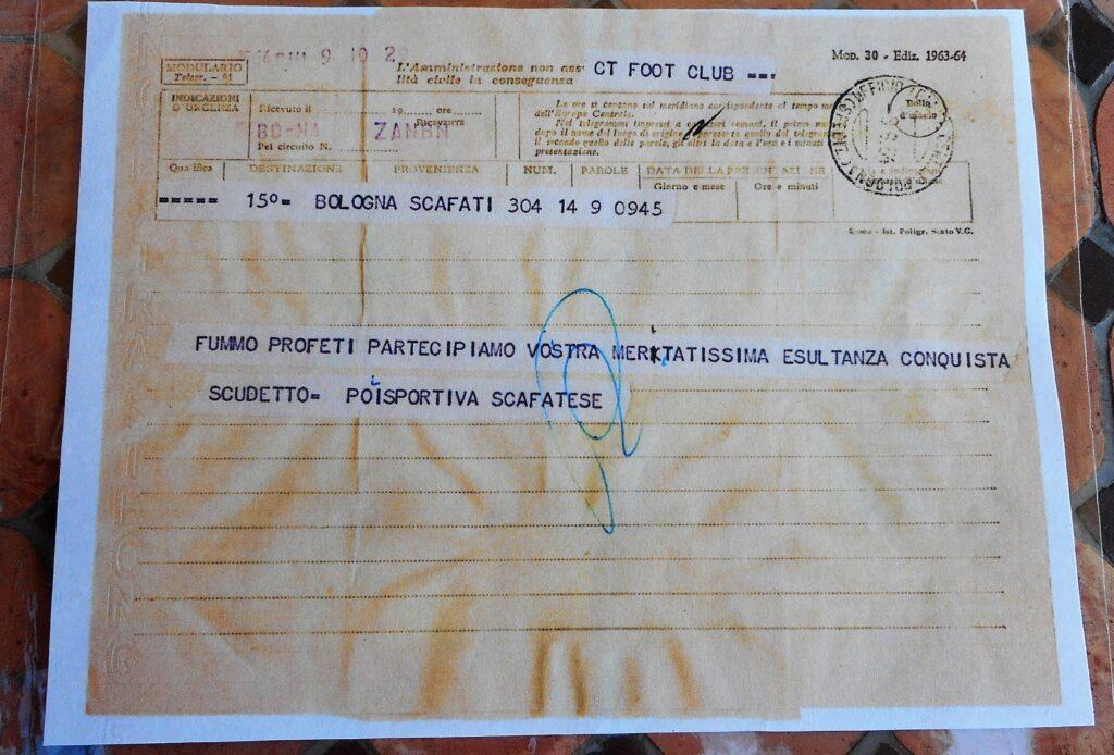 Il telegramma inviato dalla Scafatese al Bologna
