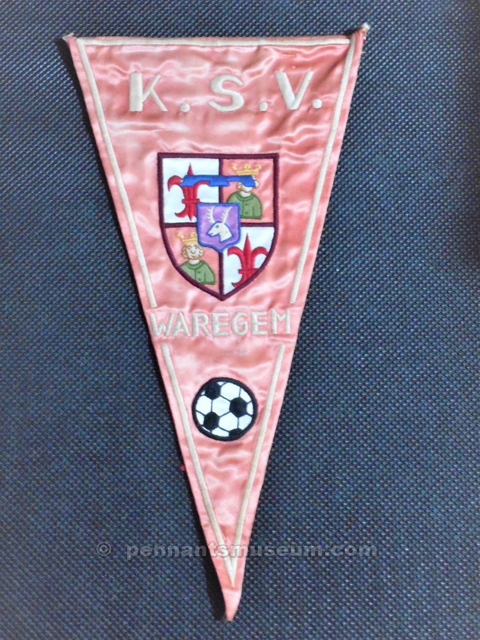 WAREGEM-K.S.V.-Embroidered pennant in use late 60s