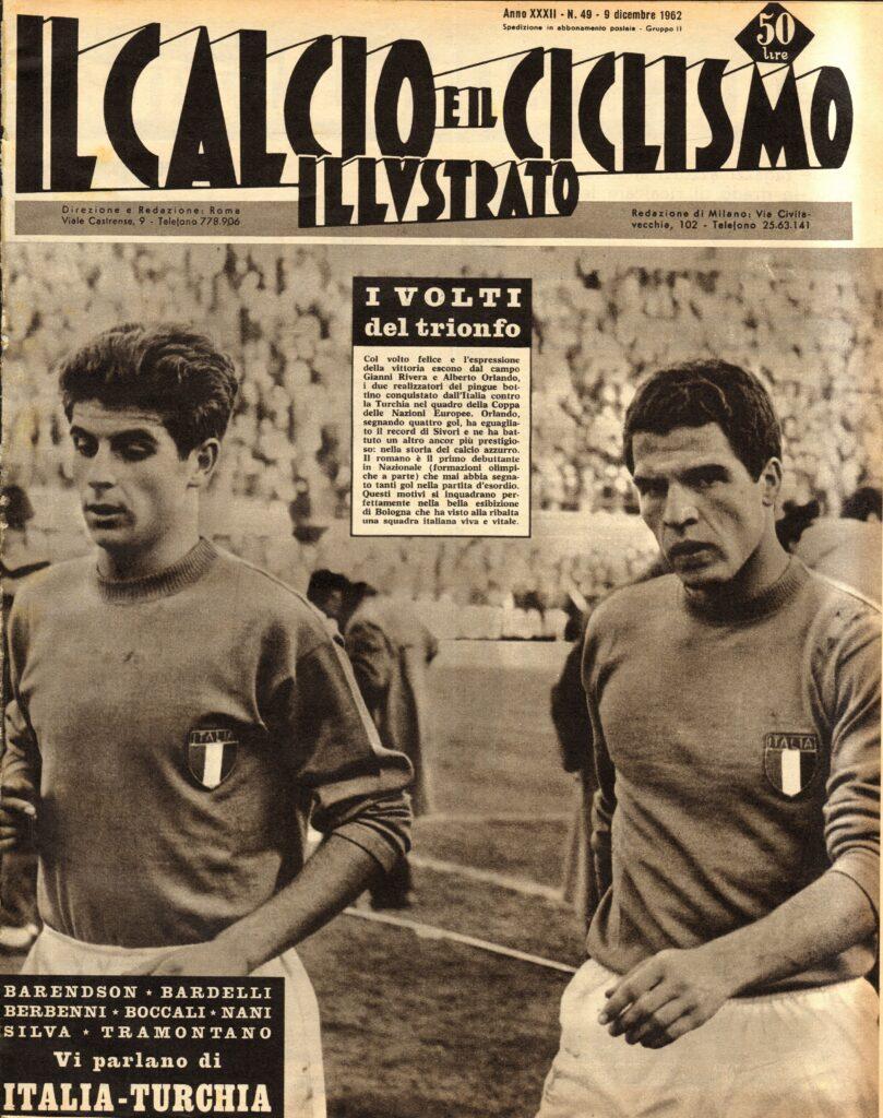 """La copertina del """"Calcio e Ciclismo Illustrato"""" del 9 dicembre 1962"""