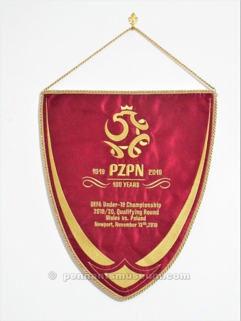 Embroidered pennant issued for the UEFA Under 19 Championship 2019 – 2020 qualifying match Wales vs Poland