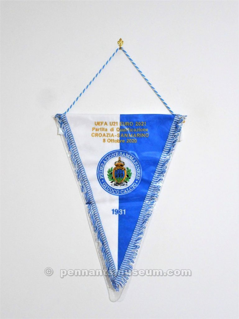 Embroidered pennant swapped by captains before the UEFA Under 21 EURO 2021 qualifying match Croazia vs S.Marino